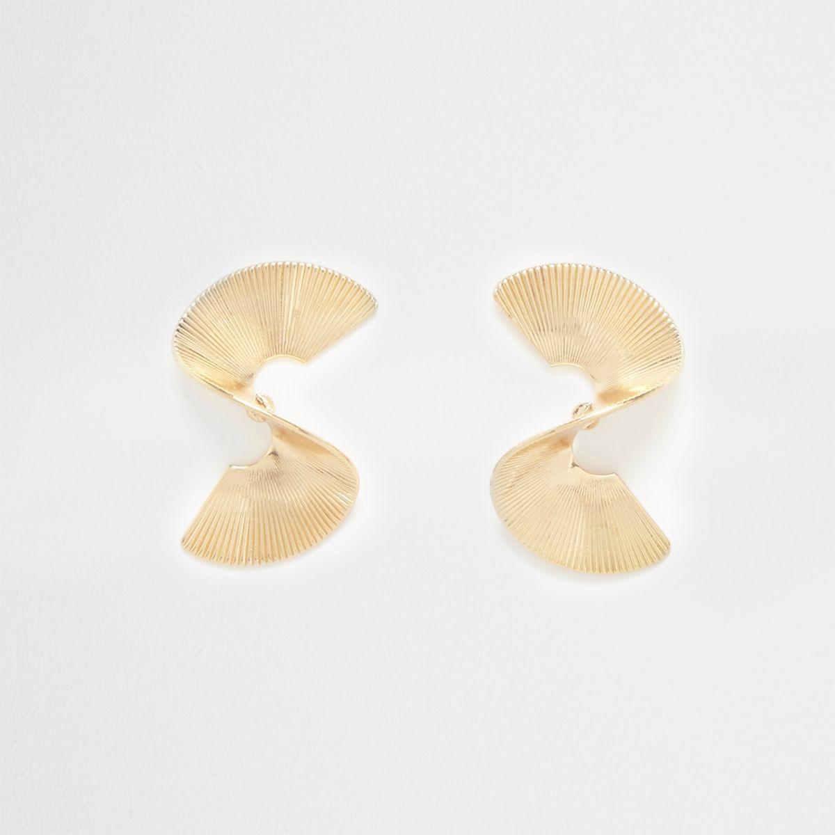 Gold tone mini twist stud earrings