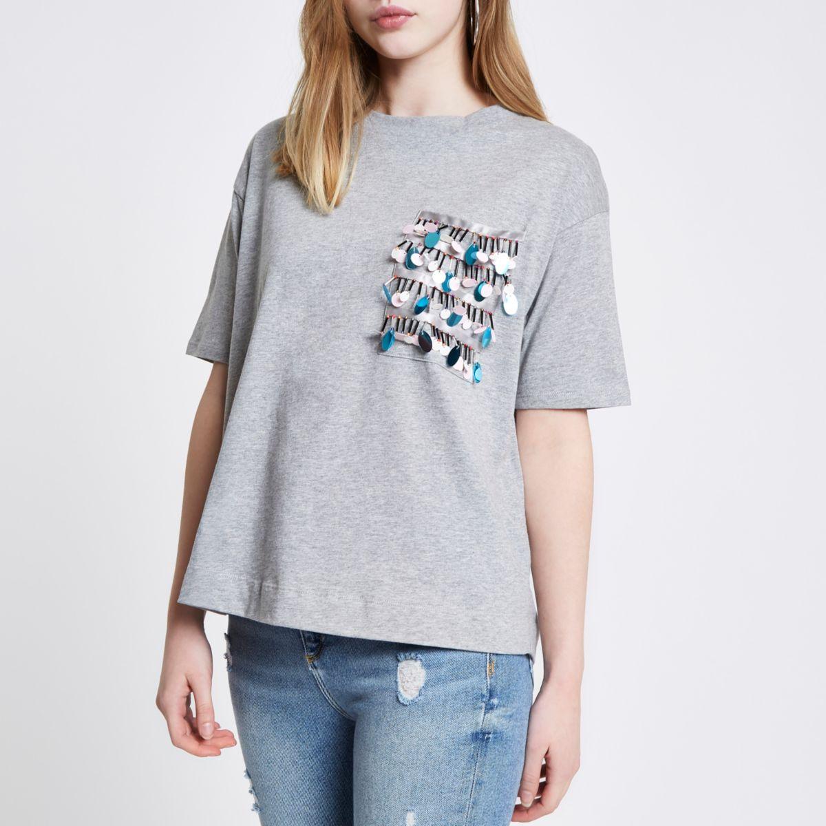 Grey disc sequin pocket boxy T-shirt