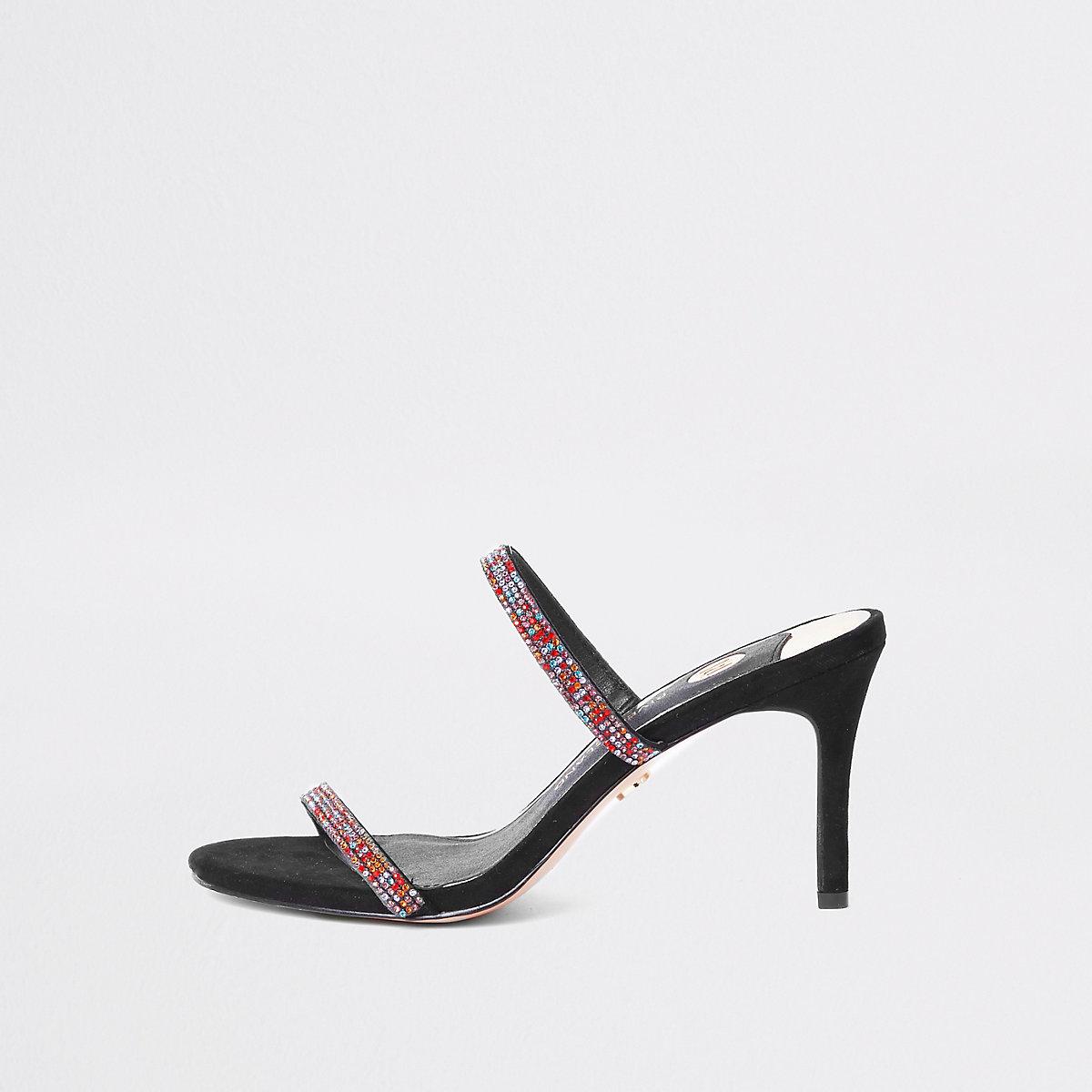 Schwarze Stiletto-Pantoletten