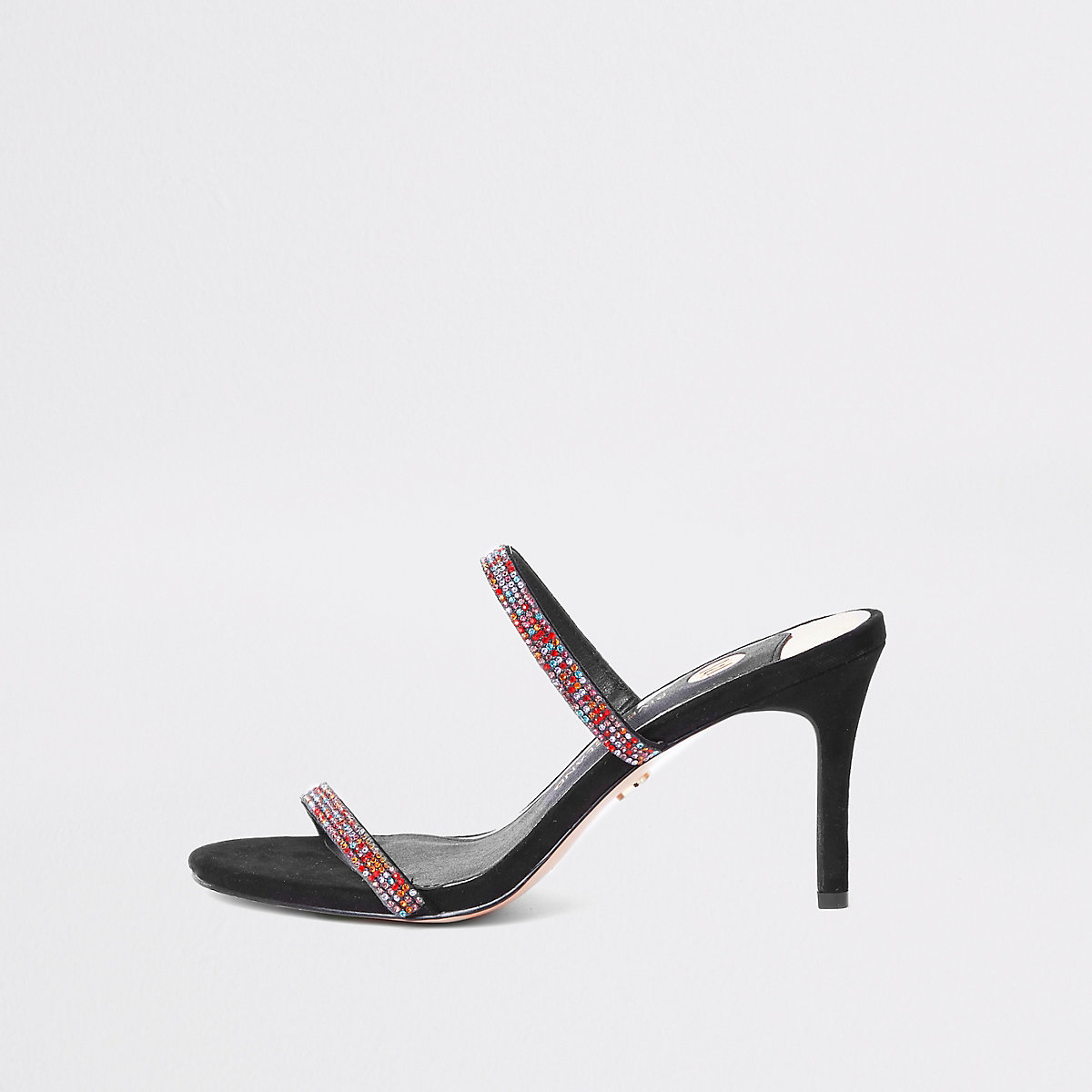 Black barely there slip on stiletto mules