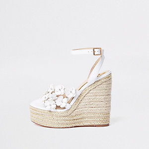 White flower espadrille platform wedges