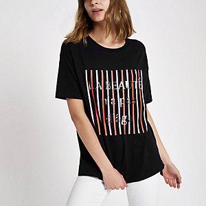 Black 'La beaute' stripe T-shirt