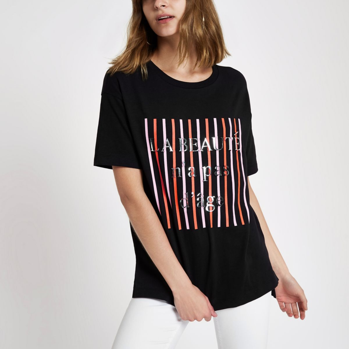 Zwart gestreept T-shirt met 'La beaute'-print