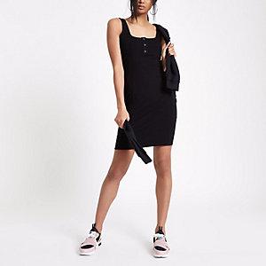 Mini robe côtelée noire à boutons