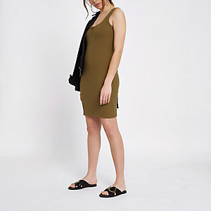 Khaki ribbed mini dress