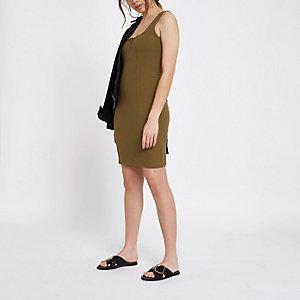 Kaki geribbelde mini-jurk