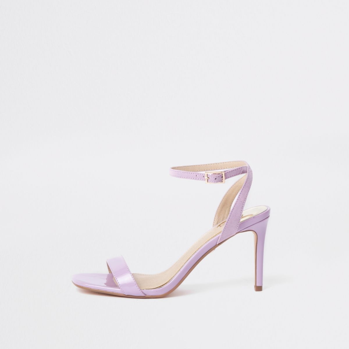 Purple barely there wide fit mid heel sandals