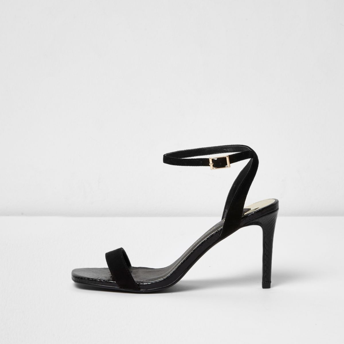 Black wide fit strappy barely there sandals