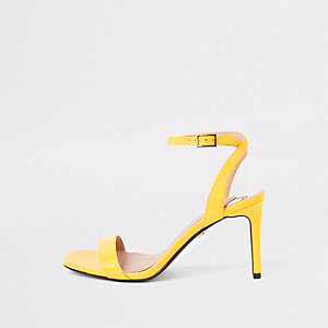 Yellow barely there wide fit mid heel sandals