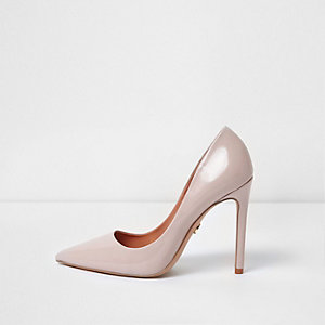 Pink wide fit faux leather court shoe
