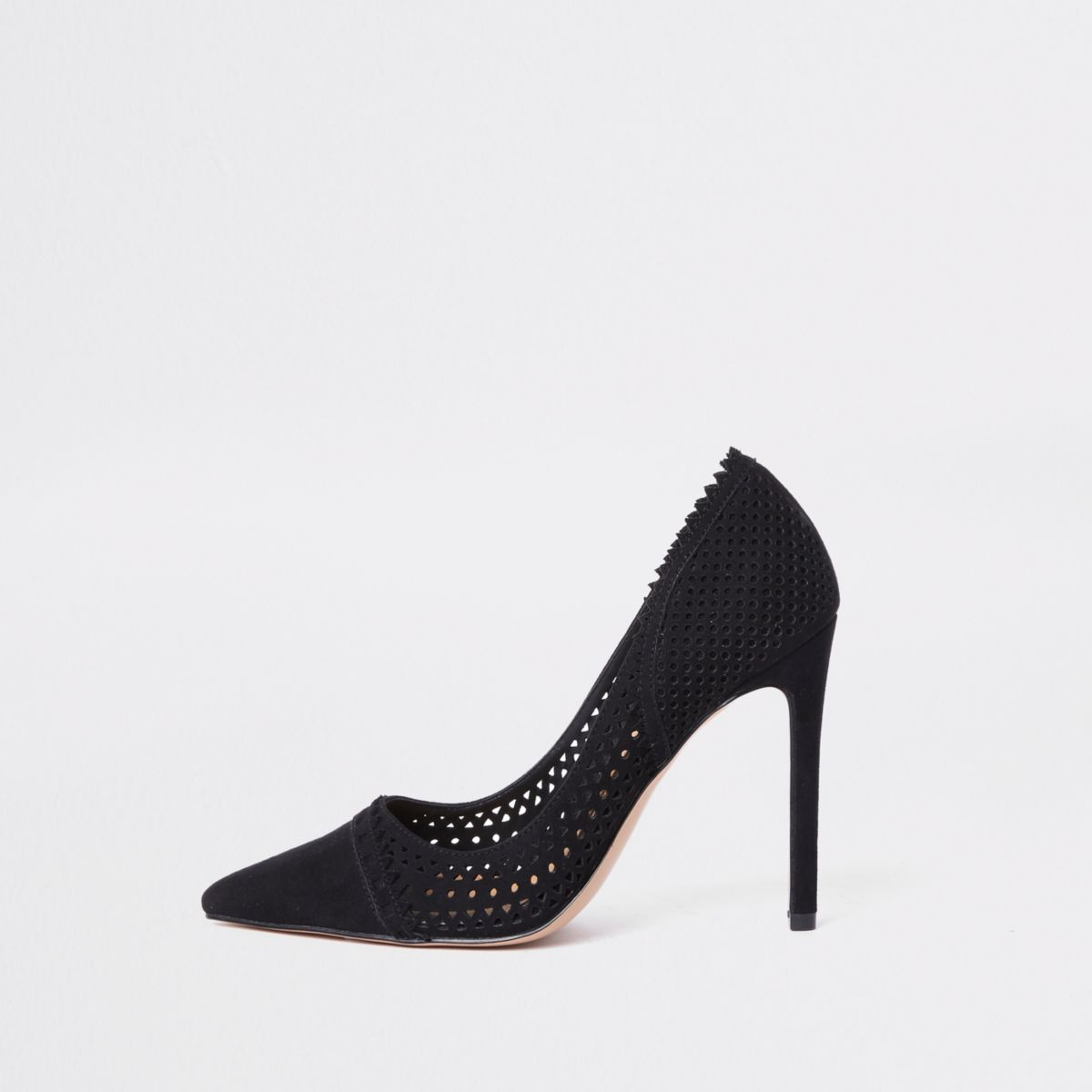 Black laser cut court shoes