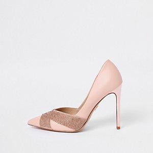 Pink embellished court shoes