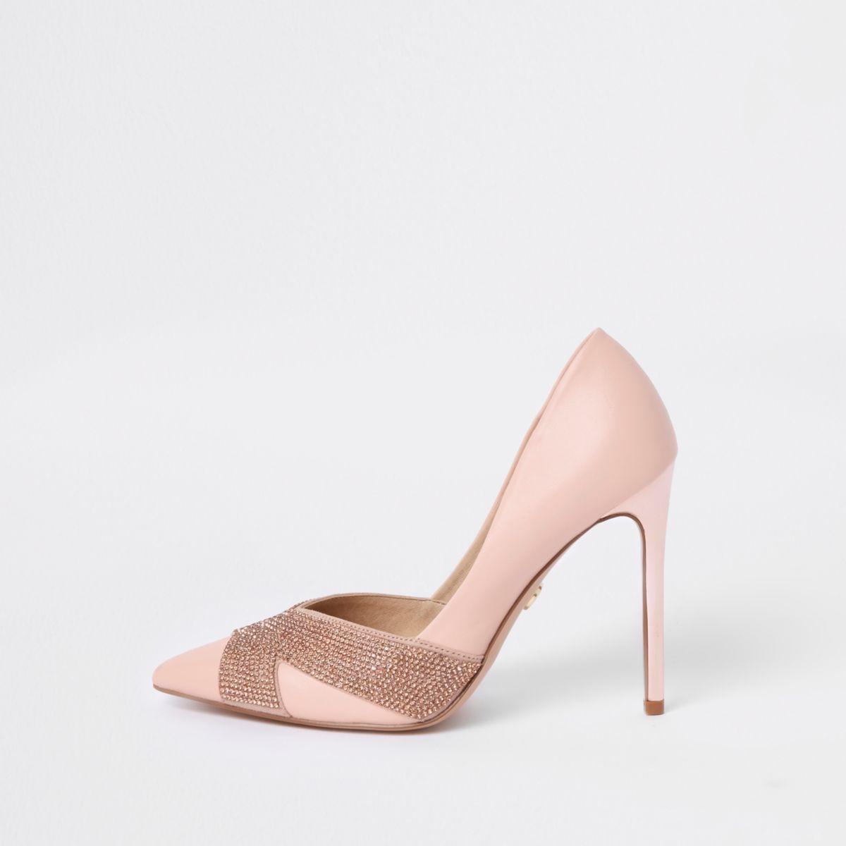 Pink embellished pumps