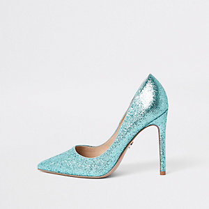 Blue glitter court shoes