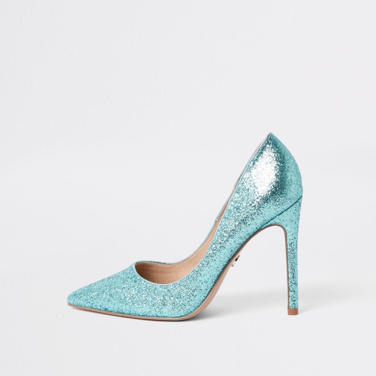 Blue glitter pumps