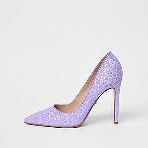Purple glitter court shoes