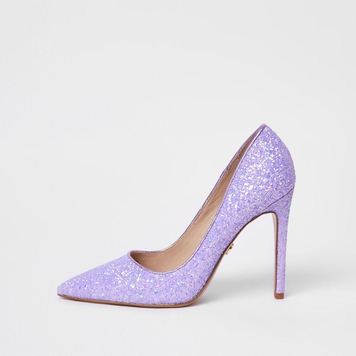 Purple glitter court shoes