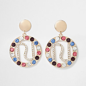 Gold tone jewel embellished RI hoop earrings