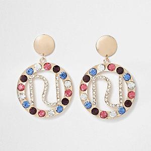 Gold tone jewel embellished RI hoop earrings
