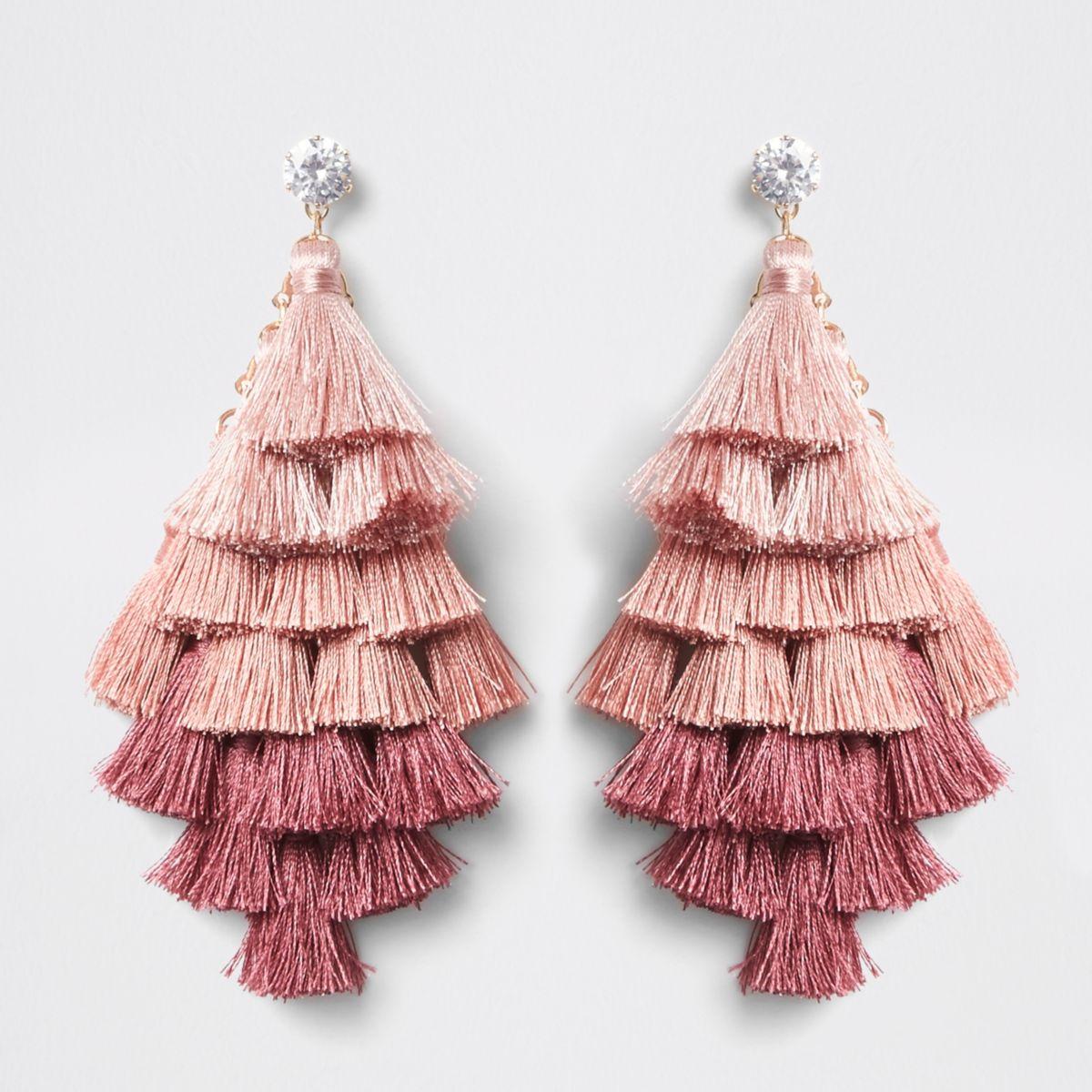 Pink ombre tassel drop earrings