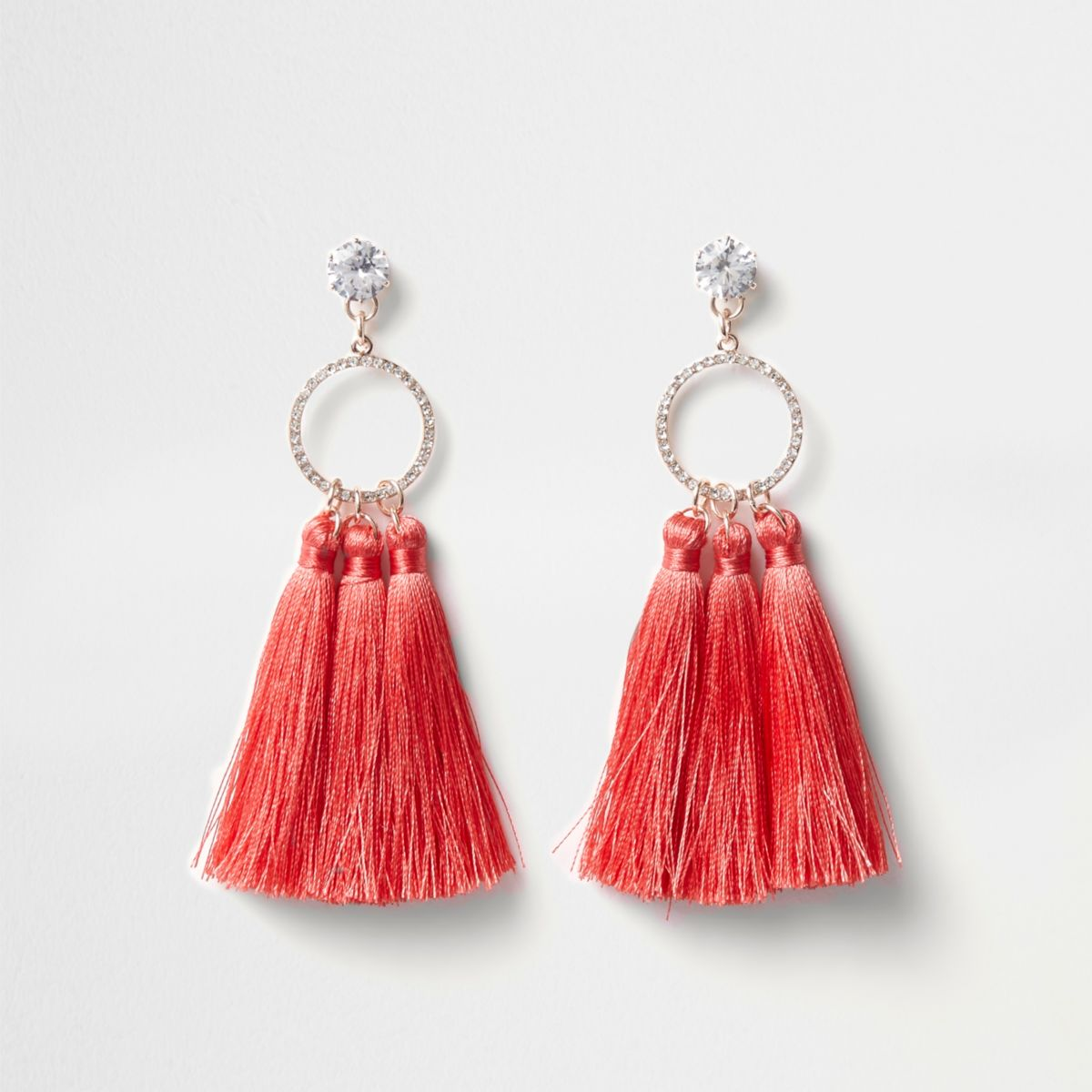 Coral pink diamante ring tassel earrings
