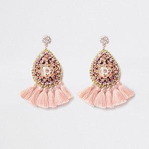 Pendants d'oreilles roses à pampilles et perles
