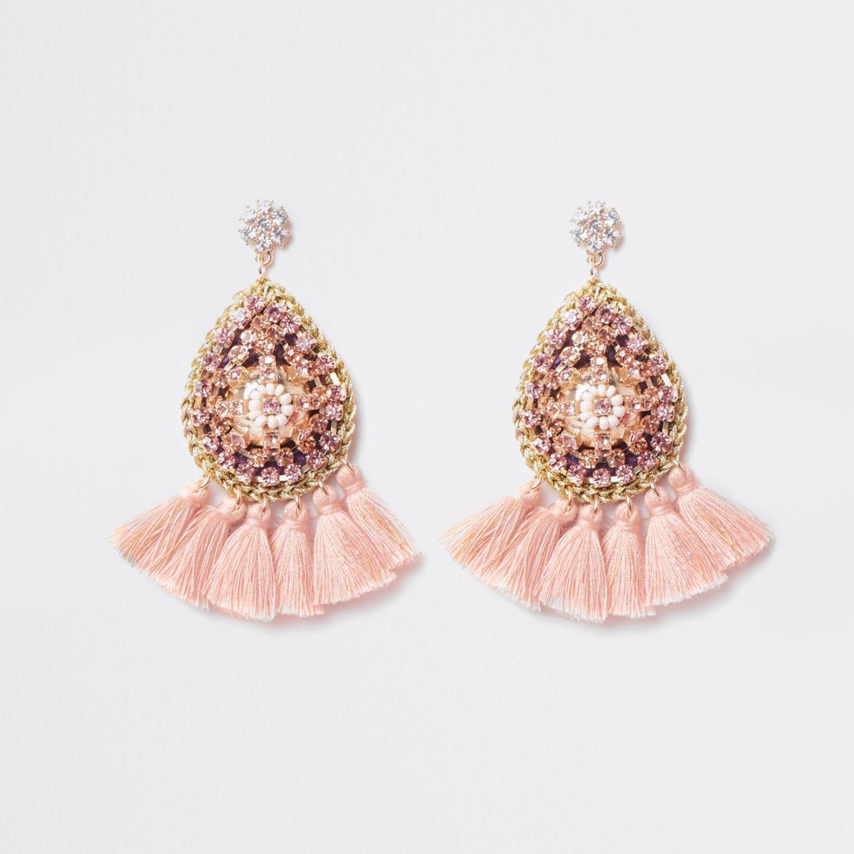 Pink beaded tassel dangle earrings