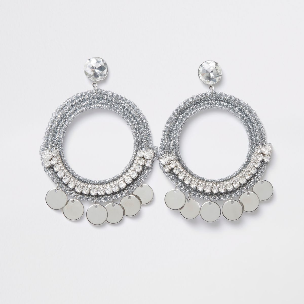 Silver tone metallic hoop disc earring