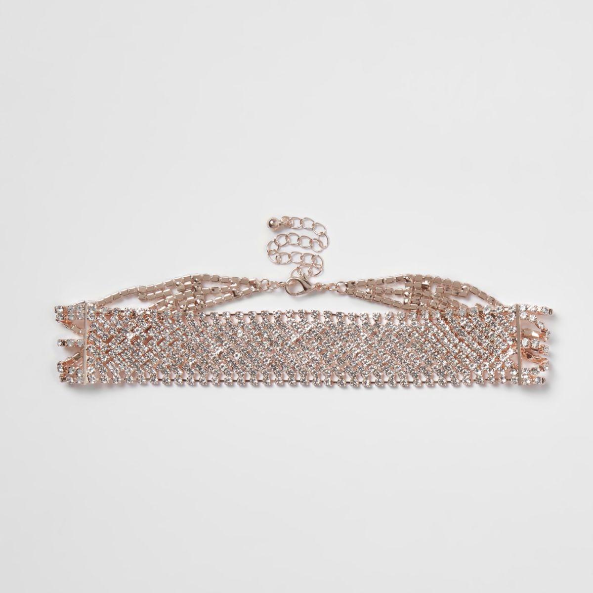 Rose gold tone diamante cup chain choker