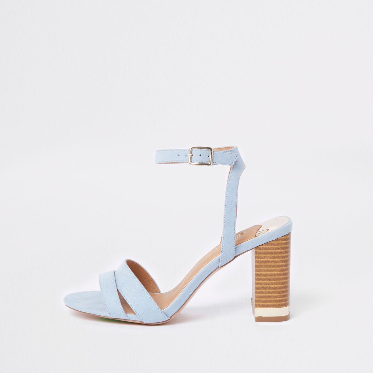 Light blue wide fit suede block heel sandals