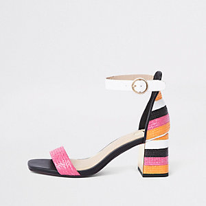 Pink woven metallic block heel sandals