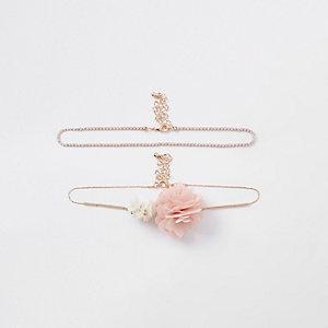 Lot de colliers ras-de-cou à fleur rose