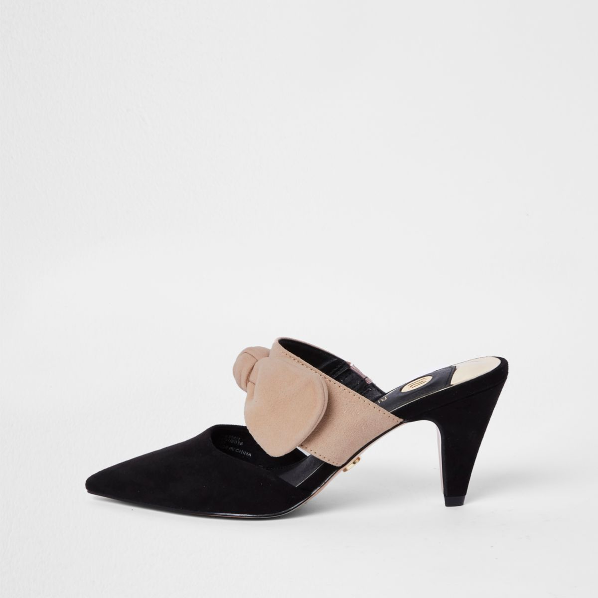 Black suede bow court style mules