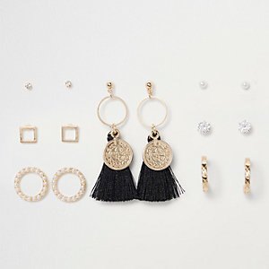 Gold tone coin tassel hoop earrings pack