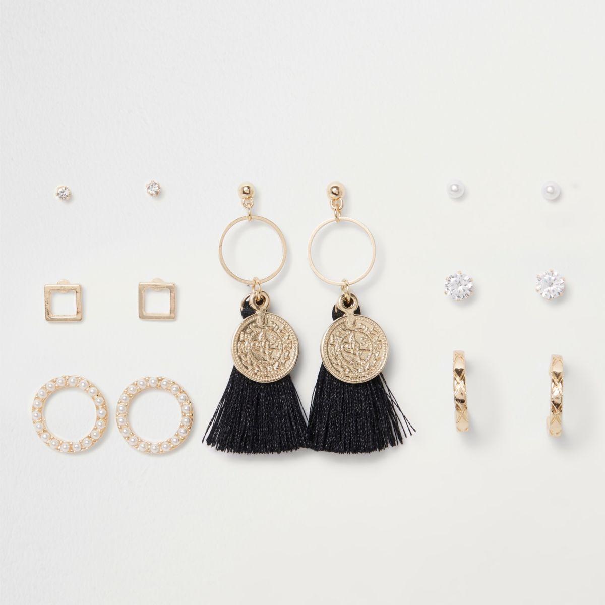 Gold tone coin tassel hoop earrings pack