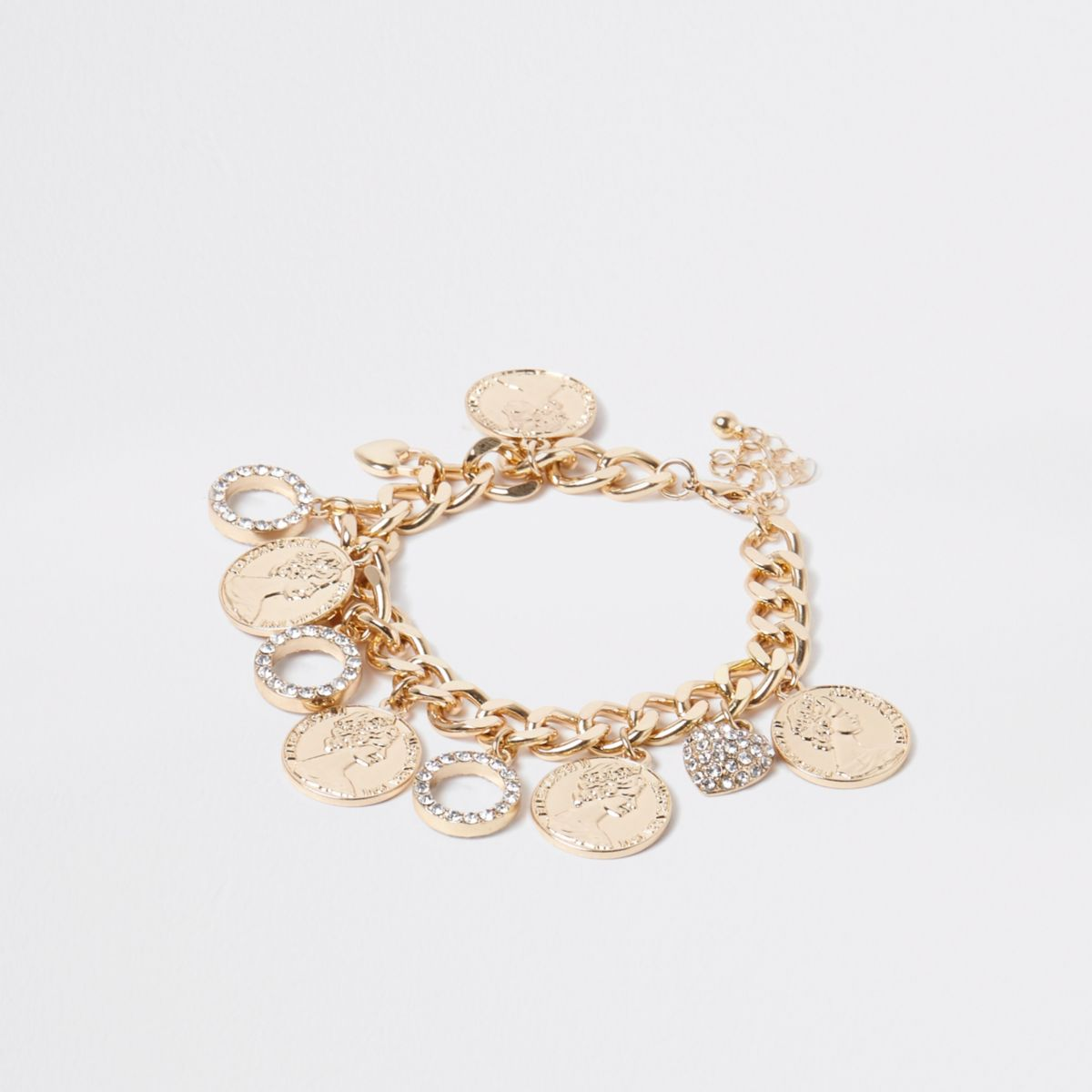 Gold tone chain coin and circle bracelet