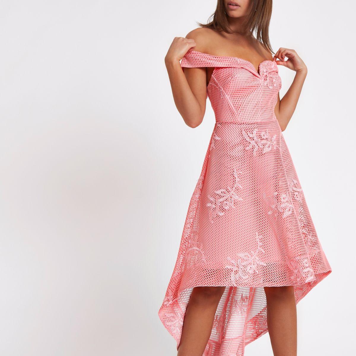 Pink bardot mesh asymmetric hem dress