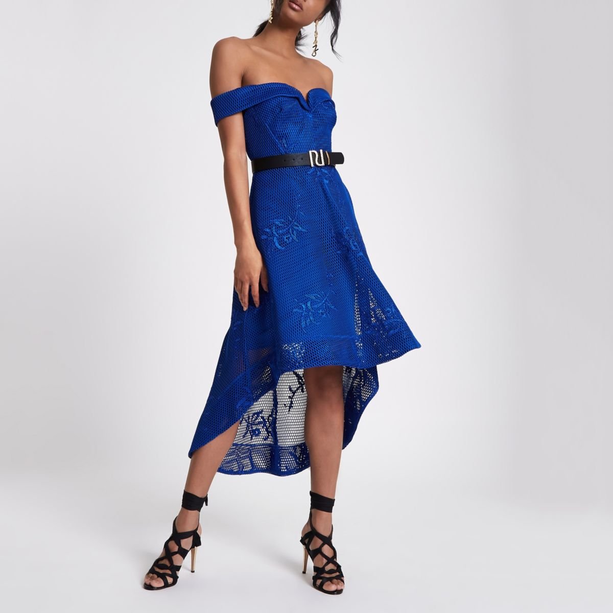 Blue bardot mesh drop hem dress