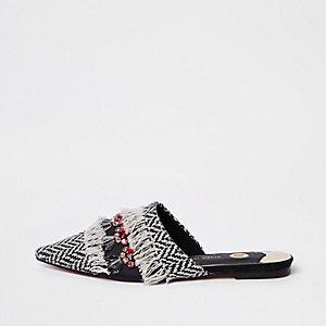 Black fringe embellished back loafer