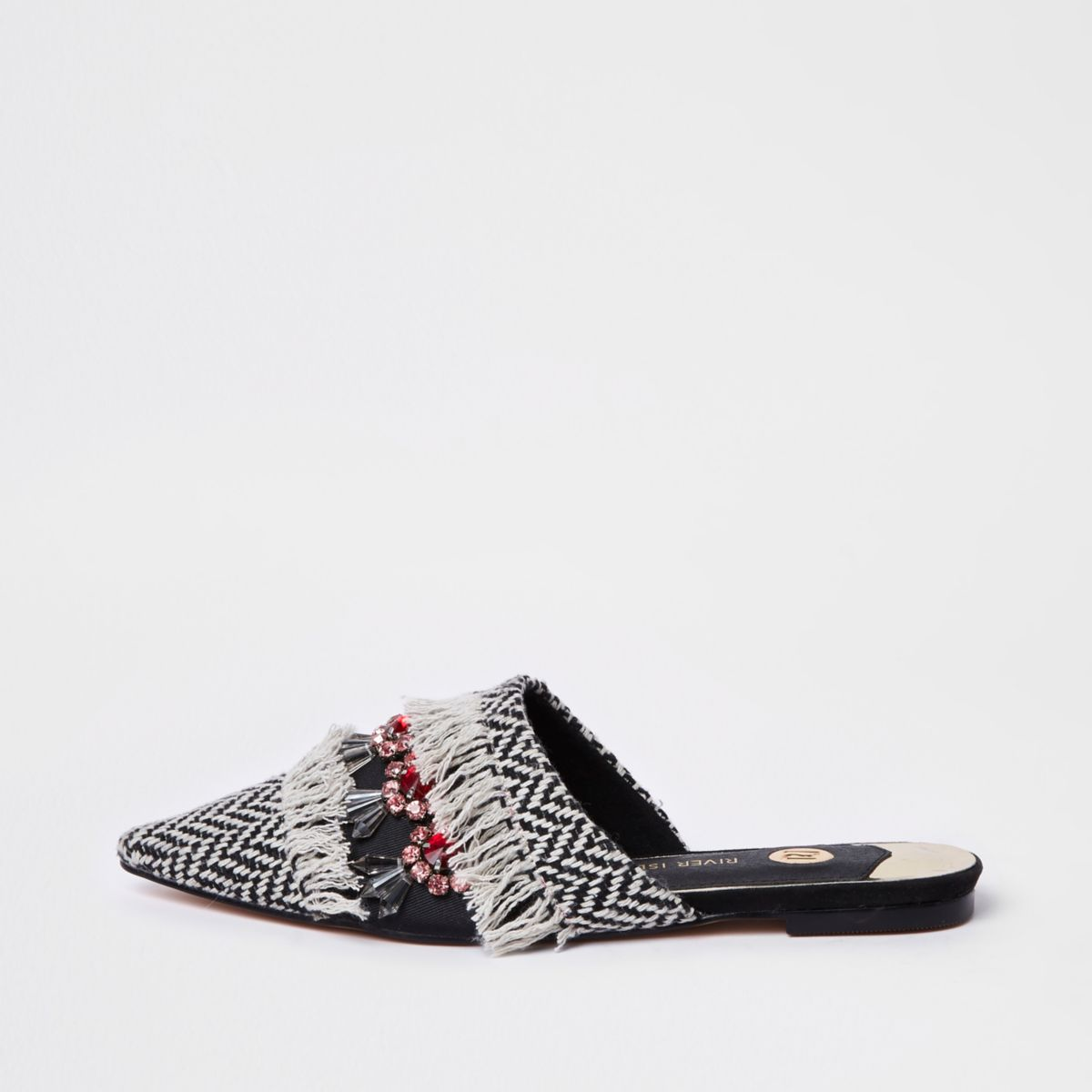 Black fringe embellished back loafer
