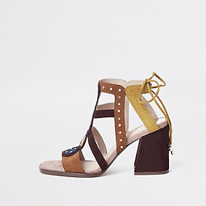 Brown stud embellished block heel sandals