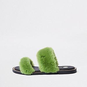 Green faux fur chain trim sandals