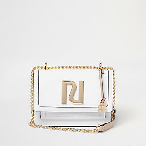 White 'RI' embellished boxy cross body bag