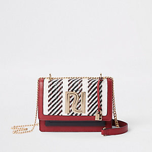 Red RI stripe print cross body chain bag