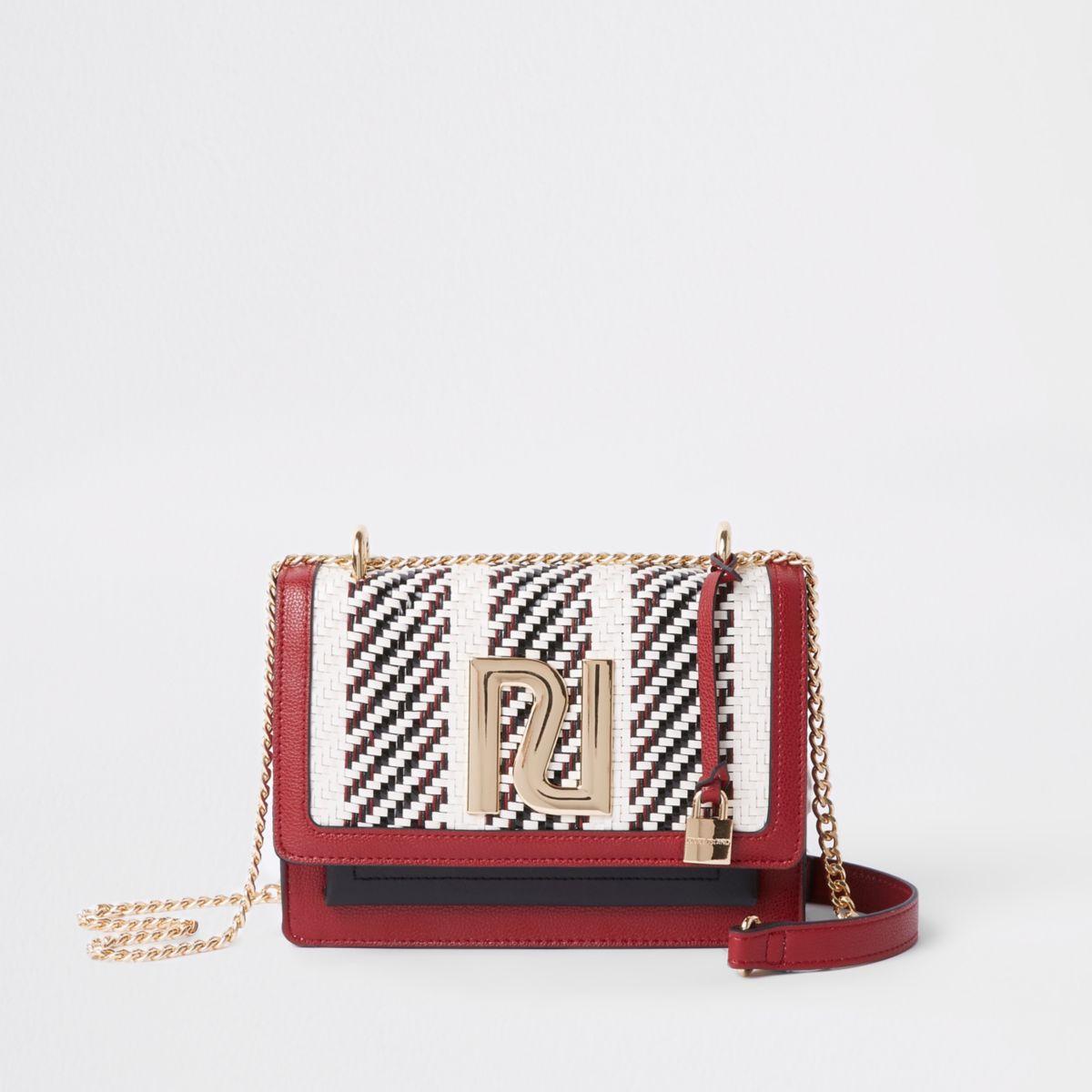 Red RI stripe print cross body chain bag