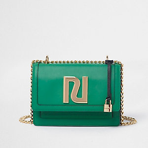 Green RI embellished chain cross body bag