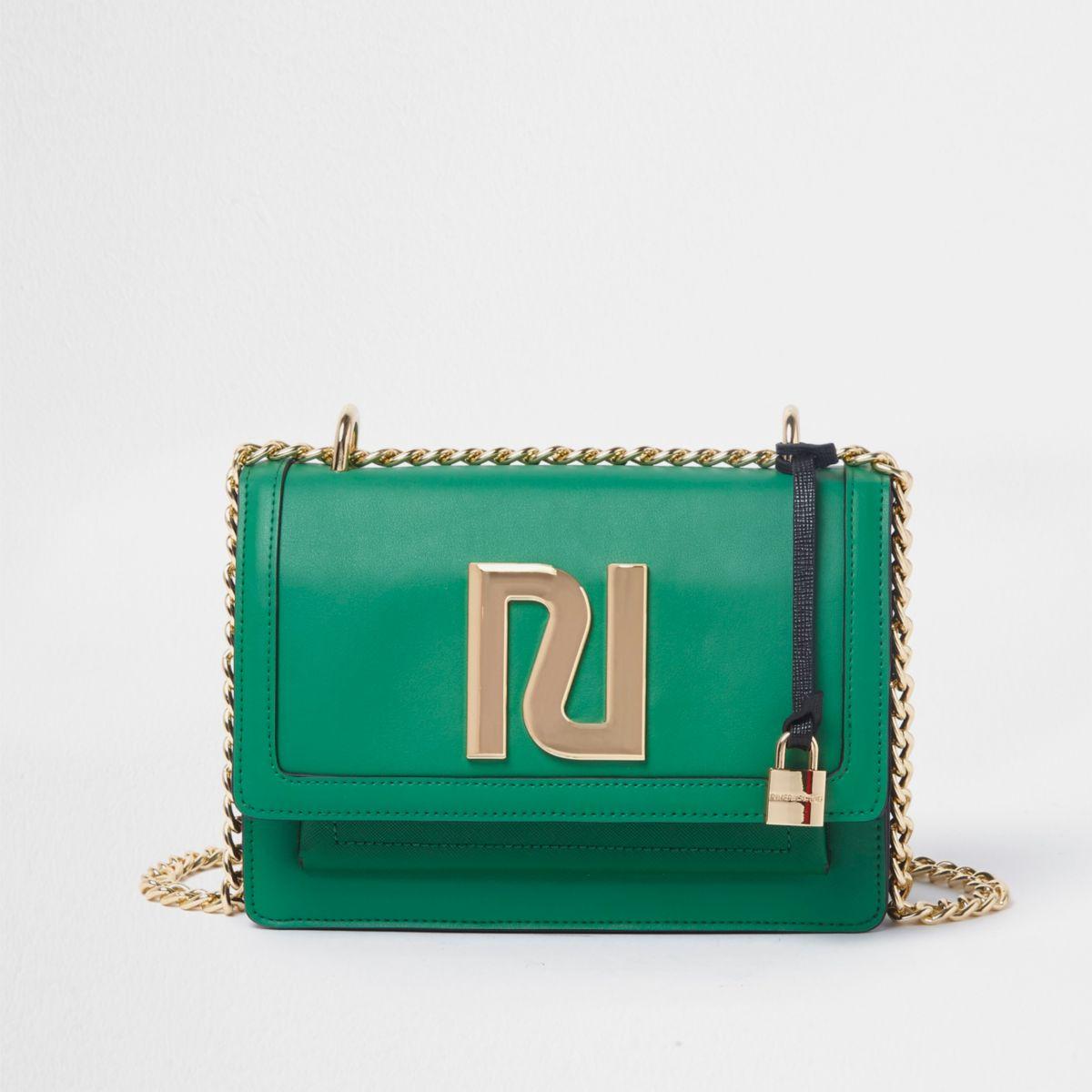 Green RI embellished chain cross body bag
