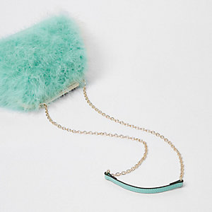 Green feather frame chain bag