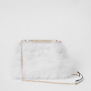 White feather frame chain bag