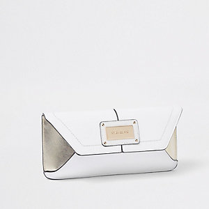 White faux leather envelope clutch bag